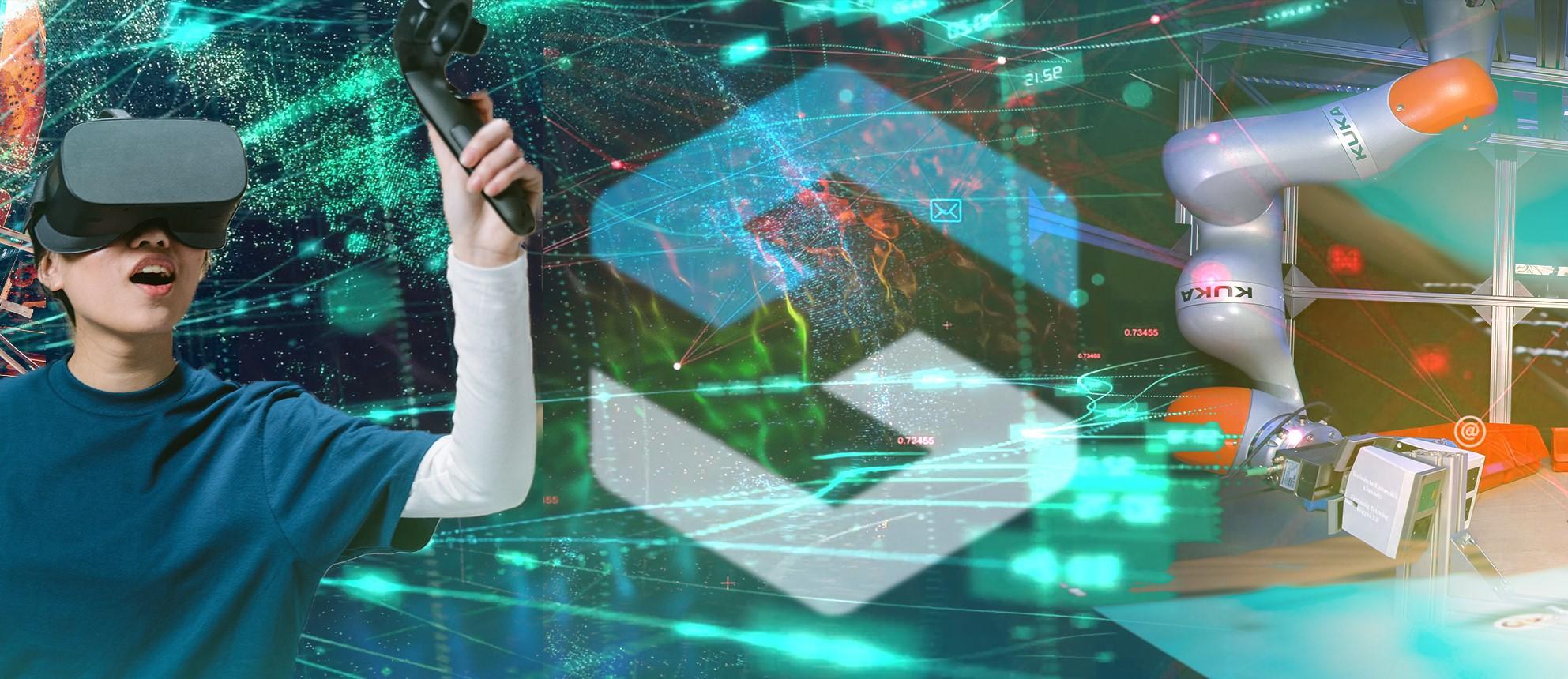 Das Hybrid Societies Logo mittig. Links ein Junge bei einem VR-Spiel. Rechts ein Roboter-Arm.