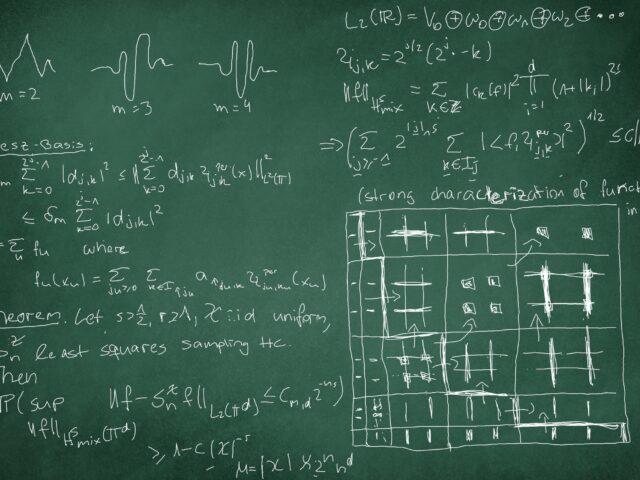 Hyperbolic Wavelet Regression, photogenically arranged (blackboard: Laura Lippert)